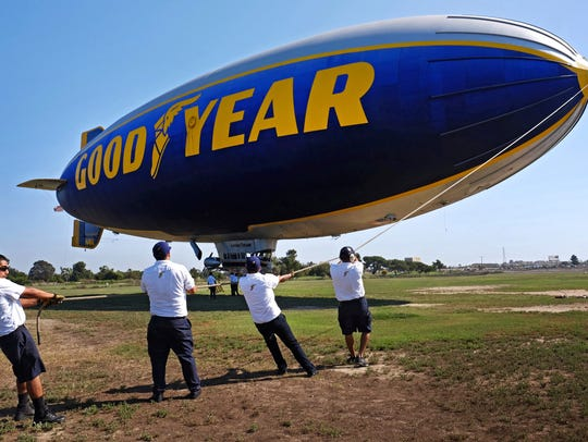 This file photo shows ground crew moring the Goodyear
