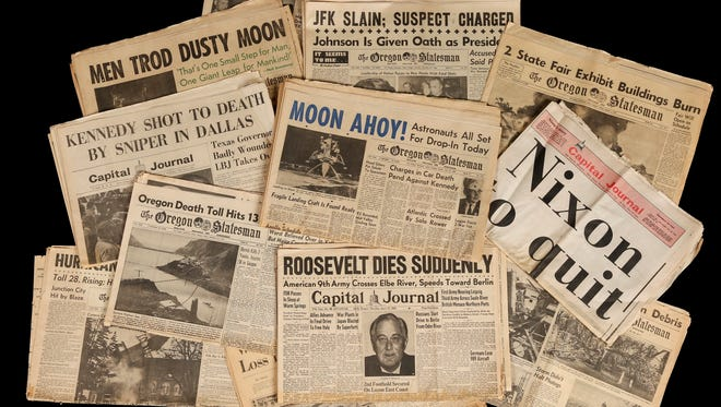 Headlines about the assassination of President John F. Kennedy and the first landing on the moon are among the famous front pages preserved in the archives of the Statesman Journal.