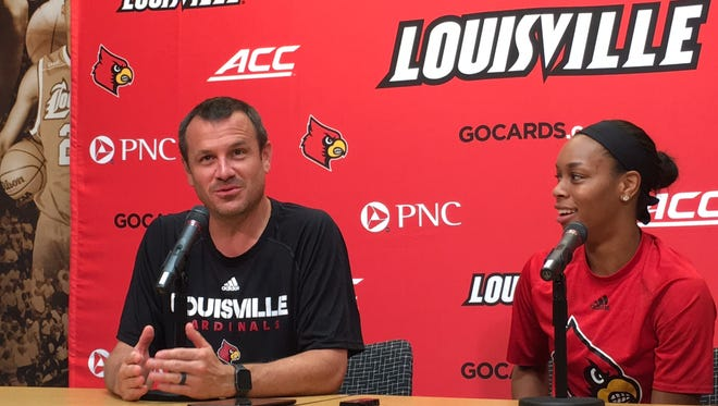Louisville women's basketball coach Jeff Walz and guard Asia Durr discuss their trip to Tokyo with USA Basketball at a press conference Monday, Aug. 21, 2017.