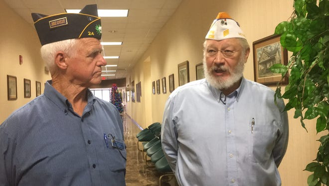 Veterans George Herrington, left, and Rex Hasty are hoping to raise enough money to purchase a new van to transport area veterans to Jackson for medical treatment.