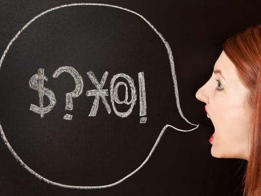 Woman With Swearing Talk Bubble