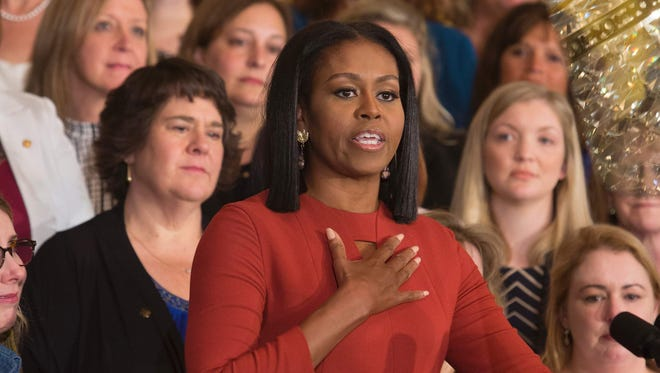 Michelle Obama gives her final remarks as First Lady at the White House in Washington, D.C., on Jan. 6, 2017.