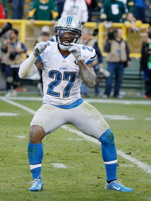 Detroit Lions' Glover Quin reacts after an NFL football game against the Green Bay Packers Sunday, Nov. 15, 2015, in Green Bay, Wis. The Lions won 18-16.