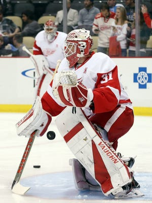 Detroit Red Wings goalie Jared Coreau warms up prior to his first NHL start, against the Pittsburgh Penguins, on Dec. 3, 2016.