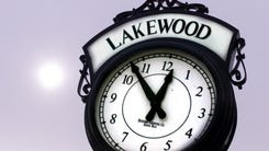 The Lakewood town clock on Clifton Avenue near the