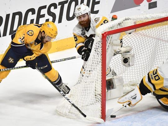 Predators forward Frederick Gaudreau scores in Game 4 of the Stanley Cup Final in June.