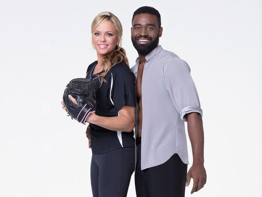 Softball pitcher Jennie Finch Daigle with her partner