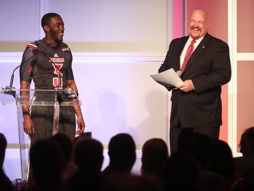U of L football junior cornerback Charles Gaines during the Kickoff Luncheon at the downtown Marriott on Thursday. Aug. 14, 2014