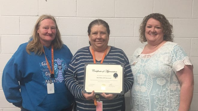 Representing IH Services (Nutra) shown from left are Mary Parham; Debra McCoy, account manager, and Crystalin Harvey, ACDSNB Job Coach.