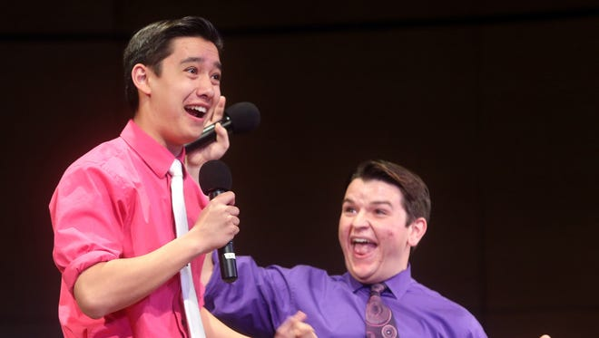 """Garrett Shin and Greg DeCola from Tappan Zee High School perform a scene from """"The Producers"""" during the first annual Pedro's Open Mic Invitational at Harrison High School May 14, 2016. The event, sponsored by The Journal News/Lohud.com, featured actors from high schools from Westchester, Rockland, and Putnam counties who performed songs from musicals that their high schools staged this year."""