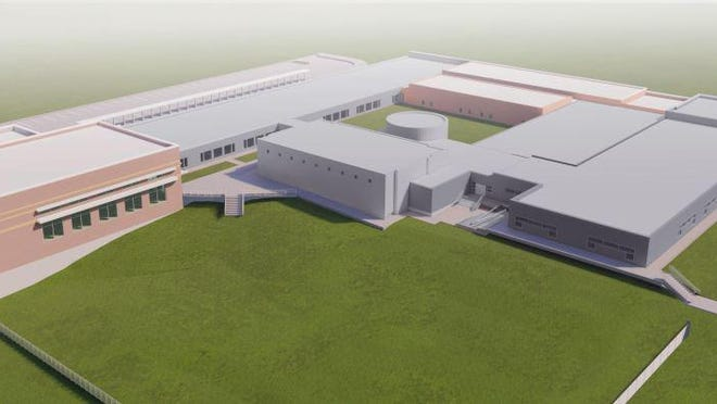 An artist rendering shows plans for the proposed expansion of Mayes Elementary School in Denison. The school board approved a guaranteed total price of $18.77 million for the expansion of Mayes and Hyde Park Tuesday night.