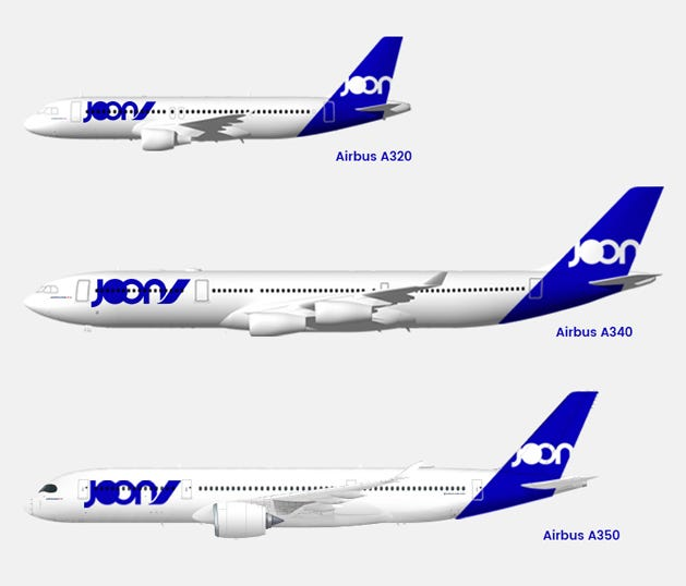 Air France-KLM released this rendering of the fleet it plans to use for its new subsidiary named