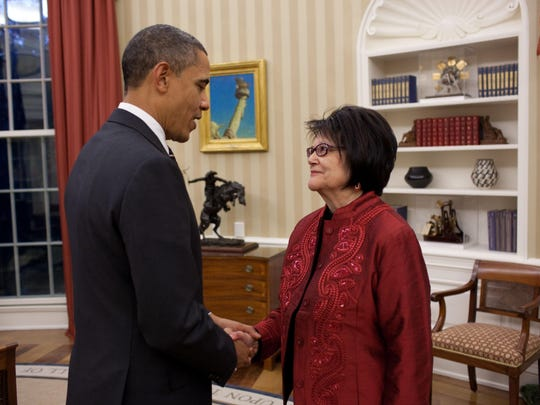 President Barack Obama meets with Elouise Cobell in