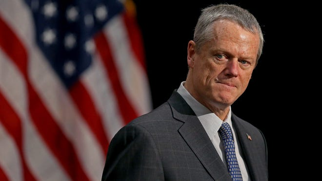File Photo: Gov. Charlie Baker during a press conference in May 2020. Ahead of the 2020 presidential elections, the governor activated 1,000 national guard troops to assist with public security.