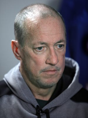 Jim Kelly during and interview with Democrat and Chronicle reporter Sal Maiorana earlier this week.