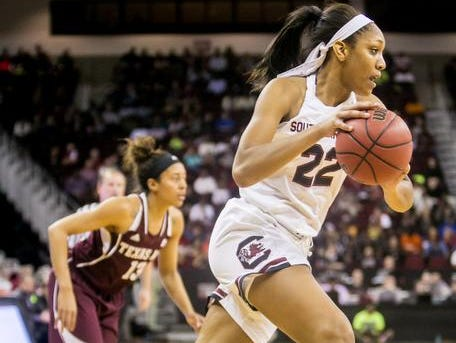 Jan 26, 2015; Columbia, SC, USA; South Carolina Gamecocks guard/forward A'ja Wilson (22) dribbles the ball against the Texas A&M Aggies in the second half at Colonial Life Arena. Mandatory Credit: Jeff Blake-USA TODAY Sports