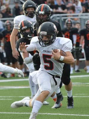 Pinckney's quaterback Jack Wurzer has excelled in his first year on varsity at the helm of the  Pirates' offense.