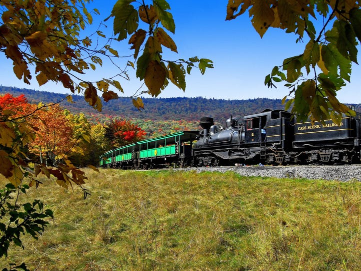 The Cass Scenic Railroad carries visitors on a historic