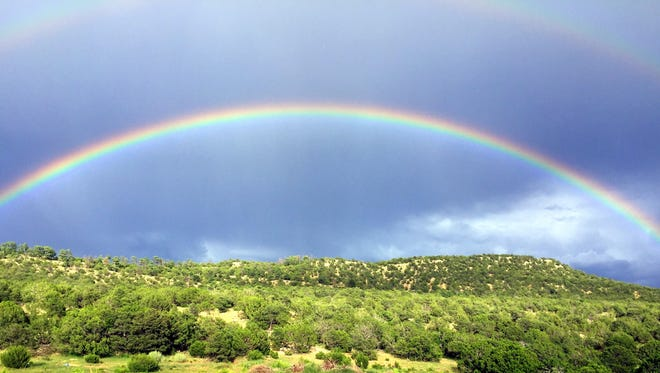 After a heavy rain, the rainbow is a reminder for many of the divine covenant with mankind.