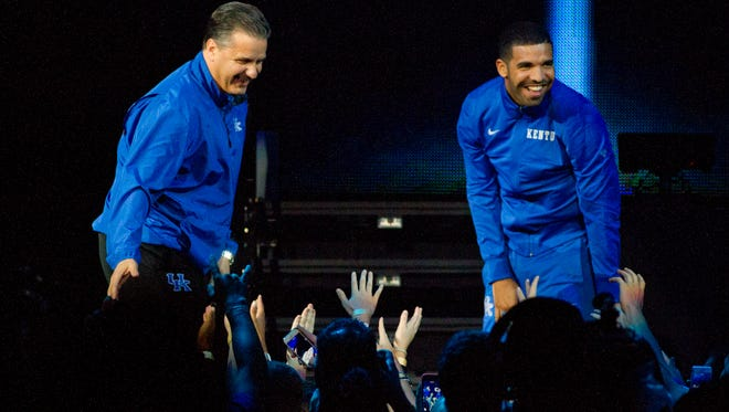 University of Kentucky basketball head coach, John Calipari, and rapper, Drake, speak to the Big Blue Nation during the Big Blue Madness event at Rupp Arena. October 17, 2014.