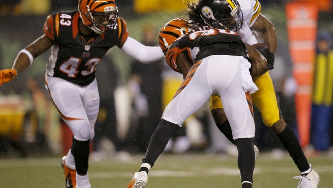 The familiarity between the Bengals and Steelers often result in big hits.