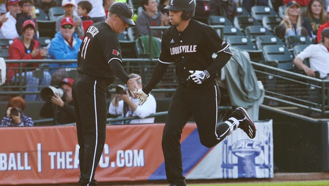 U of L's Drew Ellis (10) rounds third base after hitting a homerun against Notre Dame at Slugger Field during the ACC Tournament. May 25, 2017