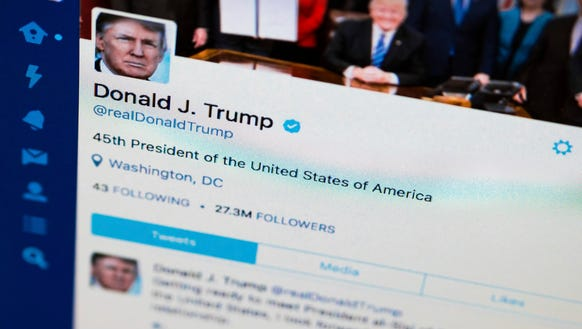 President Donald Trump's tweeter feed is photographed