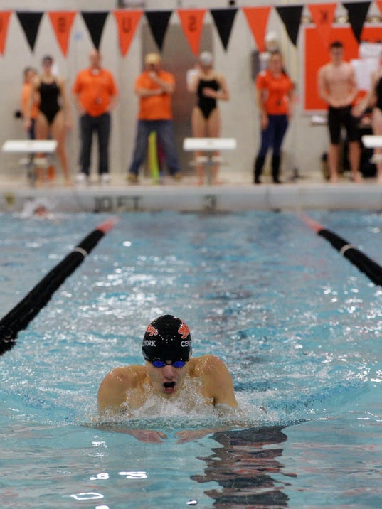 Central York freshman Alec Peckmann swimming a leg of the 200 IM.