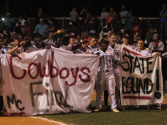Madison County's baseball team celebrates a 3-2 win over Mayo Lafayette on Tuesday night in a Region 4-1A final that sent the Cowboys to the first state tournament in program history.