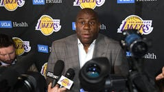 LOS ANGELES, CALIFORNIA - APRIL 09: Magic Johnson reacts as he speaks to the press resigning as Los Angeles Lakers President of Basketball Operations before the game against the Portland Trail Blazers at Staples Center on April 09, 2019 in Los Angeles, California. (Photo by Harry How/Getty Images) NOTE TO USER: User expressly acknowledges and agrees that, by downloading and or using this photograph, User is consenting to the terms and conditions of the Getty Images License Agreement.