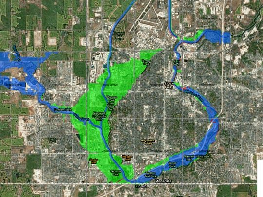 Possible new FEMA flood map. Green will be taken out of flood plain, red added.