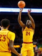 Iowa State guard Terrence Lewis (24) takes a shot during the Cyclones' game against Milwaukee on Monday, Nov. 13, 2017, at Hilton Coliseum in Ames.