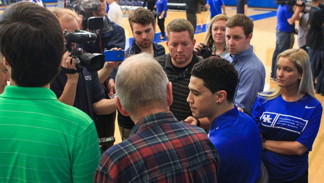 Kentucky's Devin Booker talks to the media after declaring for the NBA draft Thursday afternoon.