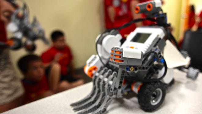 The robots at the College of the Desert's summer program are built using Lego Mindstorm kits.