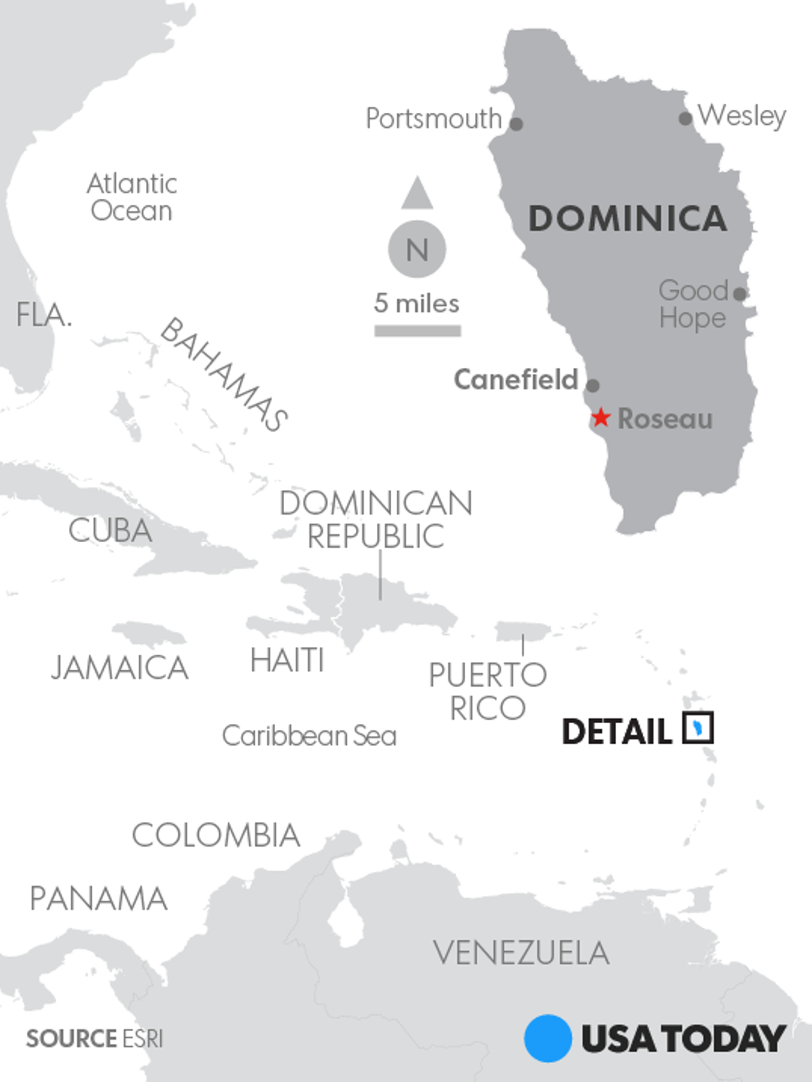 Map locates the island of Dominica.