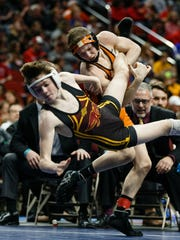 Valley's Nick Oldham beat Ankeny's Caleb Rathjen in the state finals last February. This past weekend, Rathjen beat Oldham, 3-1, at the Johnston/Valley Invite.