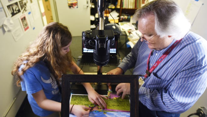 Bossier Talented Arts animation teacher Al Bohl with student, Carley.