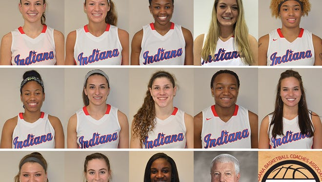 2016 Indiana IndyStar girls All-Stars: (top row from left) Camryn Buhr, Penn; Lindsey Corsaro, Roncalli; Lauren Dickerson, Lawrence North; Darby Foresman, Heritage Christian; Ae'Rianna Harris, Lawrence North; (middle row from left) Tyasha Harris, Heritage Christian; Holly Hoopingarner, Greenwood; Cameron Onken, Lafayette Central Catholic; Jayla Scaife, Muncie Central; Sydney Shelton, Mt. Vernon; (bottom row from left) Kristen Spolyar, Lebanon; Emily Sullivan, Evansville Memorial; Jackie Young, Princeton; coach Rick Risinger, Heritage Christian.