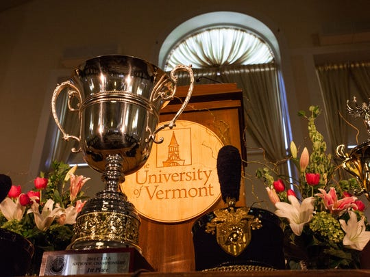 "Trophies won by the University of Vermont's Lawrence Debate Union, directed by Alfred ""Tuna"" Snider line the stage during Friday's service."