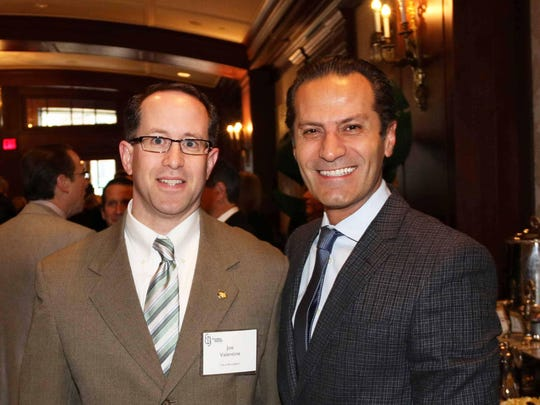 Birmingham City Manager Joe Valentine (left) and Birmingham City Commissioner Pierre Boutros at Tuesday's real estate forecast breakfast at the Townsend Hotel.