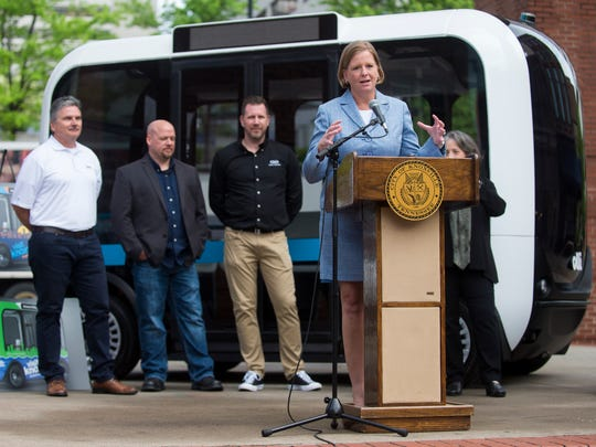 Visit Knoxville's Kim Bumpas announces the partnership with Local Motors to bring the self-driving bus Olli to Knoxville in 2017. That deal has since stalled, and there are no current plans to operate Ollis in the city, Bumpas said.