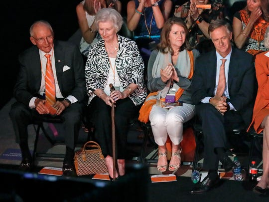 James Haslam, left, and his wife, Natalie Haslam, second from left, sit with his son, Tennessee Gov. Bill Haslam, right, and his wife, Crissy Haslam, at a ceremony to celebrate the life of former Tennessee women's basketball coach Pat Summitt Thursday, July 14, 2016, in Knoxville, Tenn. Summitt died June 28 at the age of 64.