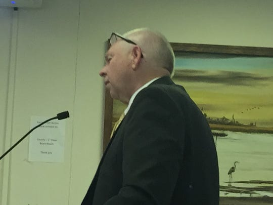 """W.C. """"Chris"""" Holland, Accomack County Schools superintendent, addresses the Accomack County Board of Supervisors during a public hearing on Wednesday, March 15, 2018 in Accomac, Va."""