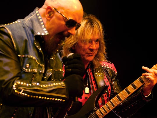 Rob Halford, left, and Glenn Tipton of Judas Priest seen performing at Comerica Theatre.