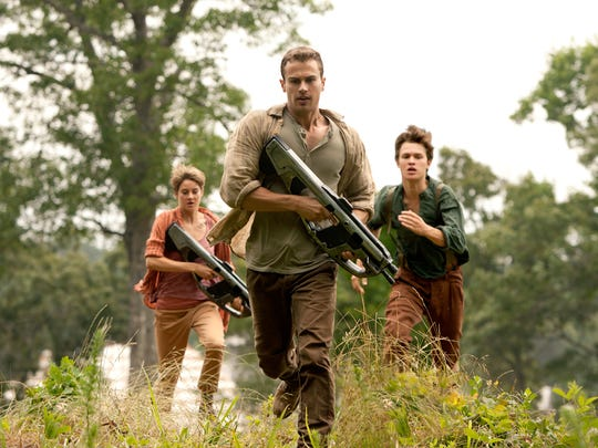 From left, Shailene Woodley, Theo James and Ansel Elgort