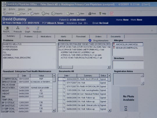 A dummy electronic medical record shows the type of
