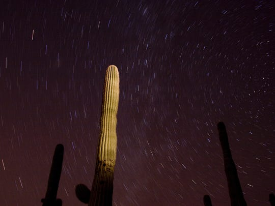 The stars move across the sky during a 15 minute exposure