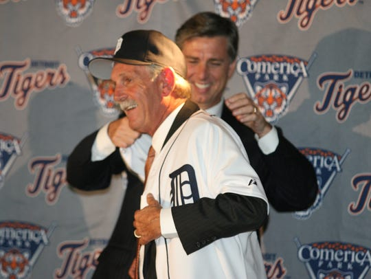 The Detroit Tigers Dave Dombrowski puts the new Tiger