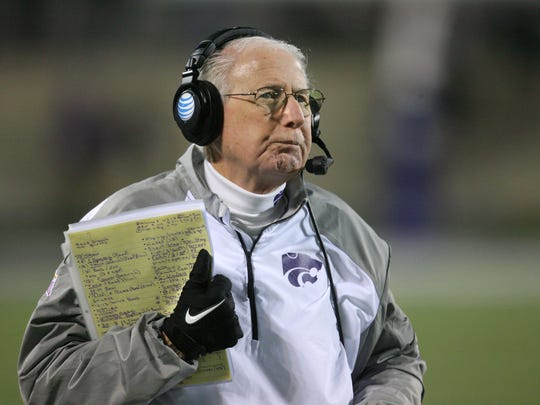Nov 5, 2015; Manhattan, KS, USA; Kansas State Wildcats head coach Bill Snyder looks on against the Baylor Bears at Bill Snyder Family Football Stadium. The Bears won 31-24. Mandatory Credit: Scott Sewell-USA TODAY Sports