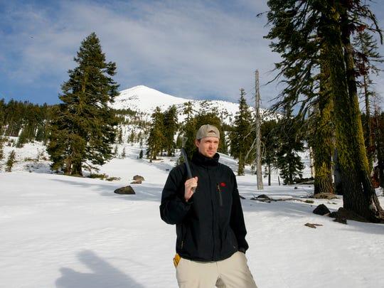Zach Urness prepares to climb Mount McLoughlin